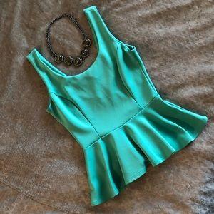 Green Peplum Top!